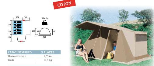 tente type familial en coton avec auvent 5 places de couchage et un espace de cuisine avec baie. Black Bedroom Furniture Sets. Home Design Ideas