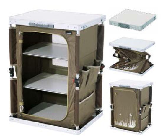 Meuble bas valise de camping pour centre de vacances for Tente cuisine camping