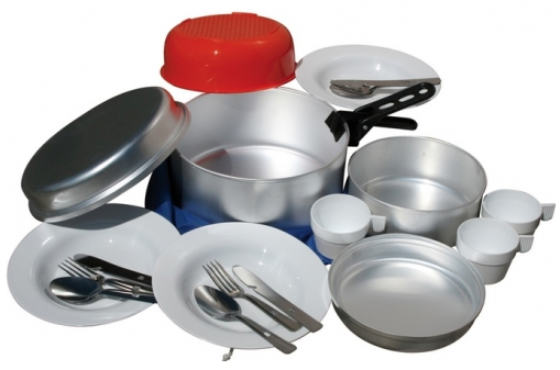Popote en aluminium pour 3 personnes comprenant for Cuisine pour collectivite